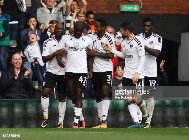 Aboubakar Kamara of Fulham celebrates with team mates after scoring during the Sky Bet Championship match between Fulham and Middlesbrough at Craven...