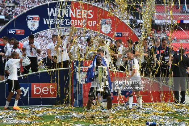 Aboubakar Kamara of Fulham celebrates with the trophy during the Sky Bet Championship Play Off Final between Aston Villa and Fulham at Wembley...