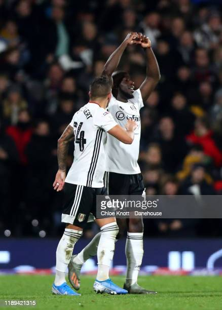 Aboubakar Kamara of Fulham FC celebrates scoring his teams second goal during the Sky Bet Championship match between Fulham and Queens Park Rangers...