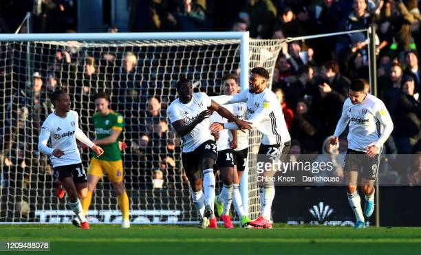 Aboubakar Kamara of Fulham FC celebrates scoring his teams second goal during the Sky Bet Championship match between Fulham and Preston North End at...