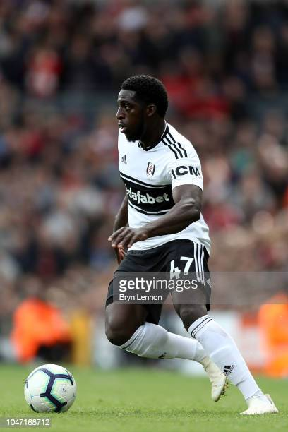 Aboubakar Kamara of Fulham FC in action during the Premier League match between Fulham FC and Arsenal FC at Craven Cottage on October 7 2018 in...