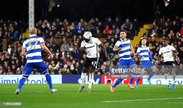 Aboubakar Kamara of Fulham FC scores his teams first goal during the Sky Bet Championship match between Fulham and Queens Park Rangers at Craven...