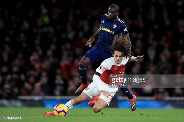 Aboubakar Kamara of Fulham in action with Matteo Guendouzi of Arsenal during the Premier League match between Arsenal FC and Fulham FC at Emirates...