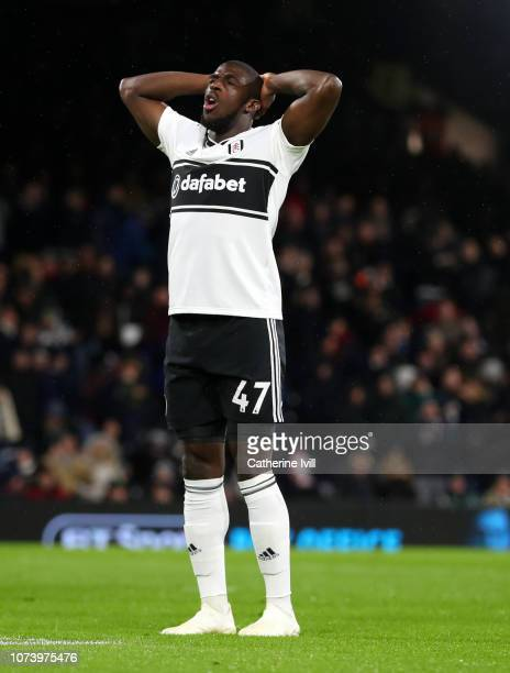 Aboubakar Kamara of Fulham reacts during the Premier League match between Fulham FC and West Ham United at Craven Cottage on December 15 2018 in...