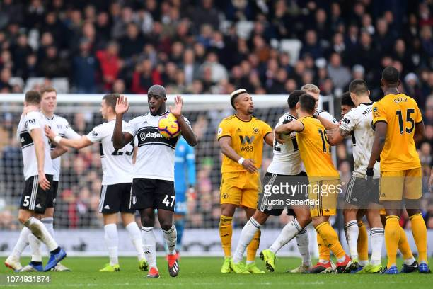 Aboubakar Kamara of Fulham reacts during the Premier League match between Fulham FC and Wolverhampton Wanderers at Craven Cottage on December 26 2018...