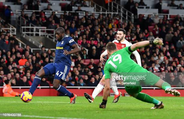 Aboubakar Kamara of Fulham scores the 1st Fulham goal during the Premier League match between Arsenal FC and Fulham FC at Emirates Stadium on January...