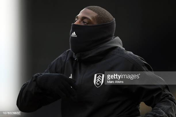 Aboubakar Kamara of Fulham wears a snood during the FA Cup Third Round match between Fulham FC and Oldham Athletic at Craven Cottage on January 6...