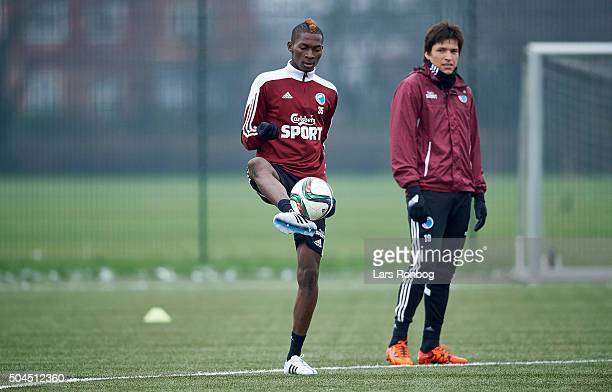Aboubakar Keita and Federico Santander of FC Copenhagen in action during the FC Copenhagen first training session at KB's baner on January 11 2016 in...