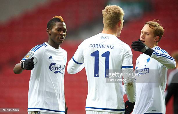 Aboubakar Keita Andreas Cornelius and Ludvig Augustinsson of FC Copenhagen celebrates after scoring their first goal during the FC Copenhagen and...
