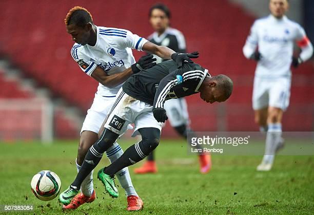 Aboubakar Keita of FC Copenhagen and Bradley Ralani Surprise of Lyngby Boldklub compete for the ball during the FC Copenhagen and Lyngby Boldklub...