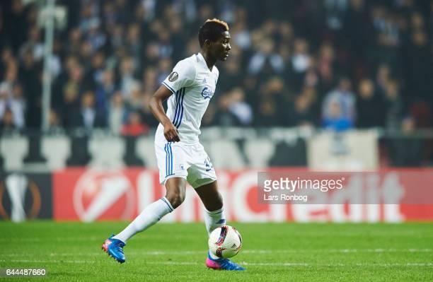 Aboubakar Keita of FC Copenhagen controls the ball during the UEFA Europa League Round of 32 second leg match match between FC Copenhagen and PFC...