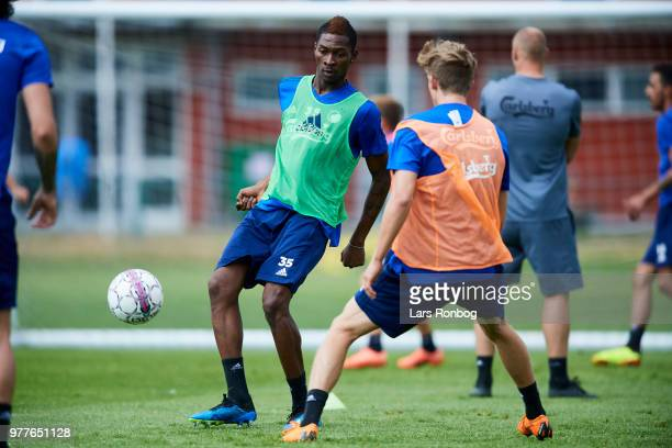 Aboubakar Keita of FC Copenhagen in action during the FC Copenhagen training session at KB's Baner on June 18 2018 in Frederiksberg Denmark