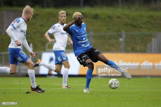 Aboubakar Keita of Halmstad BK and Kalle Holmberg of IFK Norrkoping compete for the ball at Orjans Vall on September 23 2017 in Halmstad Sweden