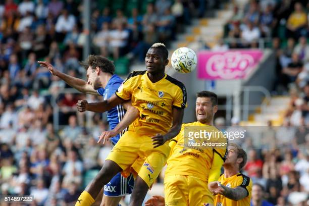 Aboubakar Keita of Halmstad BK and Lars Krogh Gerson of GIF Sundsvall during the Allsvenskan match between GIF Sundsvall and Halmstad BK at...