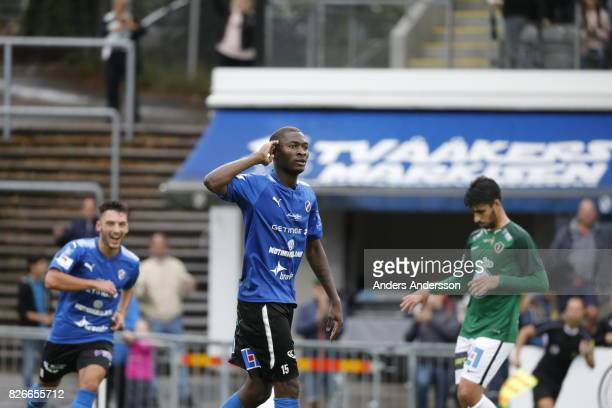 Aboubakar Keita of Halmstad BK celebrates after scoring 60 during the Allsvenskan match between Halmstad BK and Jonkopings Sodra IF at Orjans Vall on...