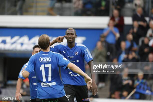 Aboubakar Keita of Halmstad BK celebrates after scoring during the Allsvenskan match between Halmstad BK and Jonkopings Sodra IF at Orjans Vall on...