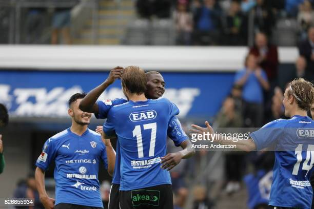Aboubakar Keita of Halmstad BK celebrates with teammates after 60 during the Allsvenskan match between Halmstad BK and Jonkopings Sodra IF at Orjans...