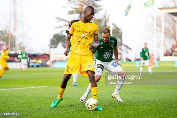 Aboubakar Keita of Halmstad BK competes for the ball during the Allsvenskan match between Jonkopings Sodra IF and Halmstad BK at Stadsparksvallen on...