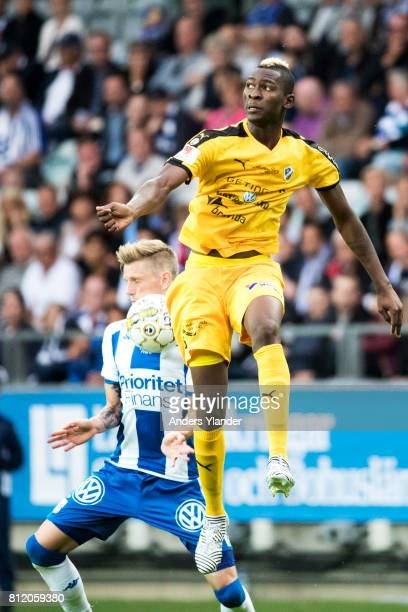 Aboubakar Keita of Halmstad BK jumps for a header with Soren Rieks of IFK Goteborg during the Allsvenskan match between IFK Goteborg and Halmstad BK...