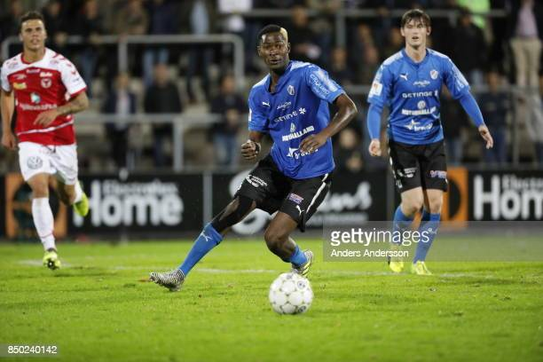 Aboubakar Keita of Halmstad BK runs with the ball at Orjans Vall on September 20 2017 in Halmstad Sweden