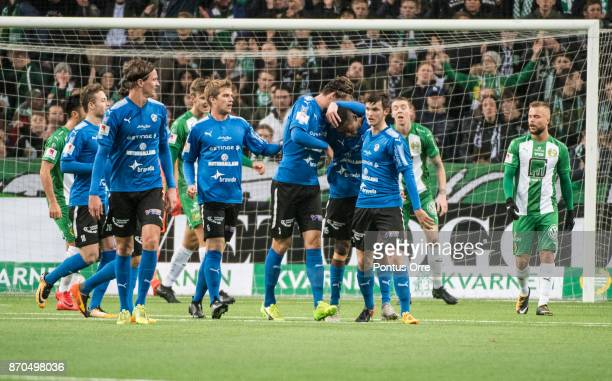 Aboubakar Keita of Halmstad BK scores 11 to of Halmstad BK during the Allsvenskan match between Hammarby IF and Halmstad BK at Tele2 Arena on...