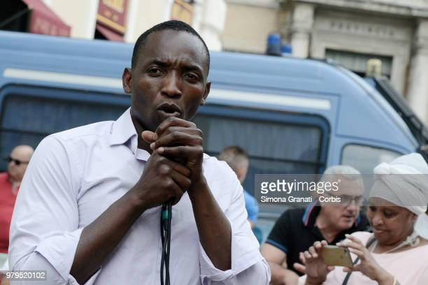 Abu Bakar Sumaoro leader of USB Union during the protest in front of the Prefecture to ask for rights and welcome for refugees and all citizens on...
