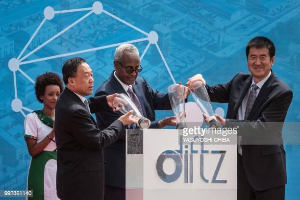 Aboubaker Omar Hadi Chairman of Djibouti Ports and Free Zones Authority Bai Jingtao General Manager of China Merchants and Xu Jian Executive Vice...