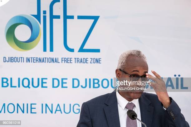 Aboubaker Omar Hadi Chairman of Djibouti Ports and Free Zones Authority delivers his speech during the inauguration ceremony of Djibouti...