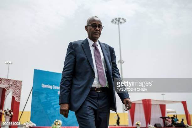 Aboubaker Omar Hadi Chairman of Djibouti Ports and Free Zones Authority walks after his speech during the inauguration of Djibouti International Free...