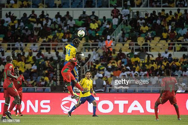 Aboue Angoue Serge Kevyn heading the ball away during the second half at African Cup of Nations 2017 between Gabon and GuineaBissau at Stade de...