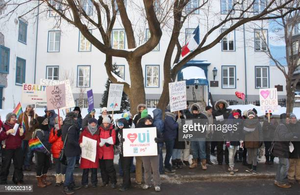 About 100 people French and Canadians gathered in front of the French Embassy January 27 2013 in Quebec City in Quebec Canada to support the samesex...