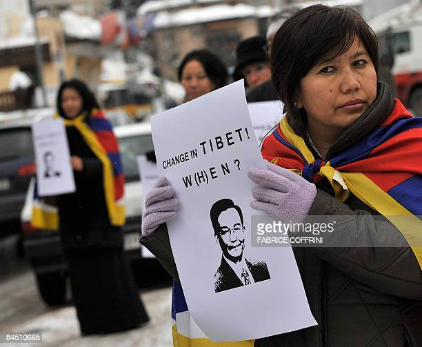 About 100 proTibet activists stage a demonstration on January 28 2009 in Davos to protest against the presence of Chinese Premier Wen Jiabao at the...
