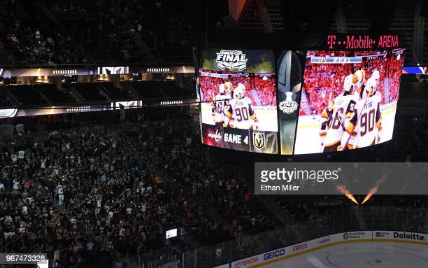 About 10000 fans attend a Vegas Golden Knights road game watch party for Game Four of the 2018 NHL Stanley Cup Final between the Golden Knights and...