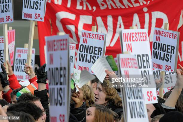 About 14000 students demonstrated in The Hague on January 21 2011 in a protest at government plans to cut university funding and reduce student...