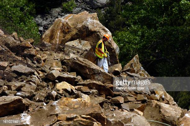 About 200 tons of rock roared down on U.S. 6 in narrow Clear Creek Canyon this morning, trapping two semitrailers with boulders as big as cars and...