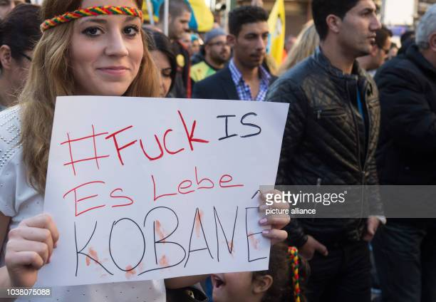 About 2000 Kurds participate in a rally in the city center of Frankfurt am Main Germany 18 October 2014 On banners and in chants they demanded...