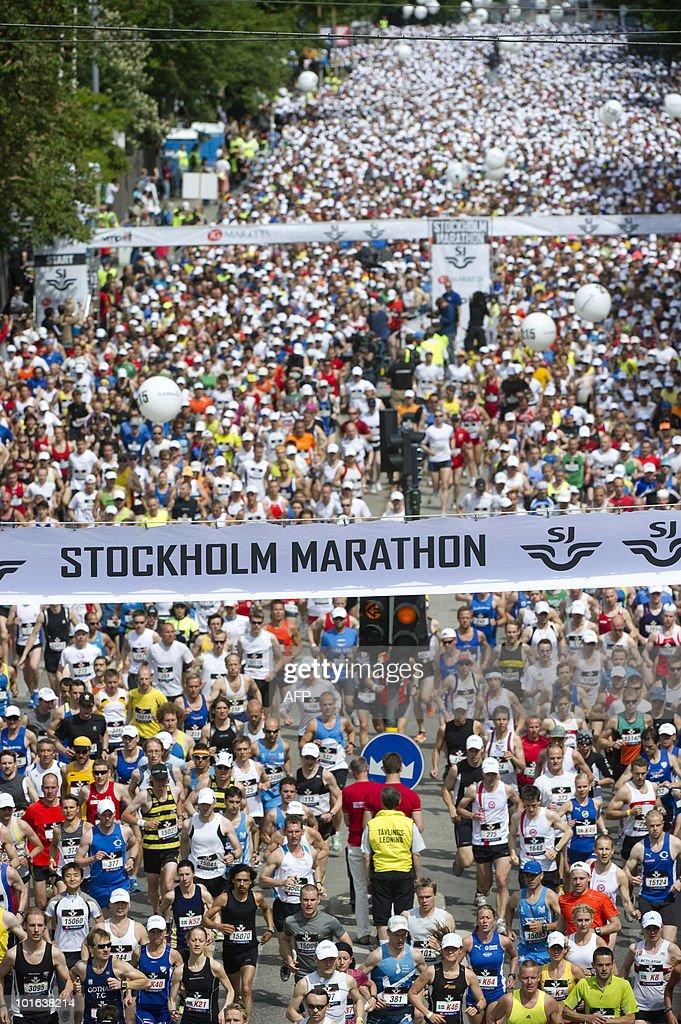 About 20,000 runners start the 2010 Stockholm Marathon in Stockholm on June 5 2010. A reccord number of participants were registered for this year race.