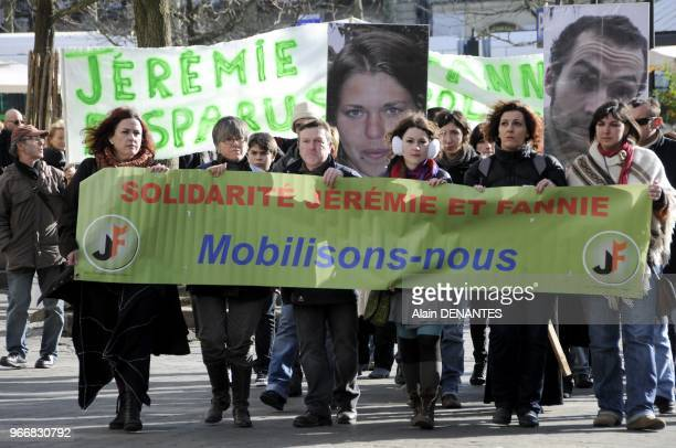 About 300 people participate in the demonstration in memory of Jeremie Bellanger and Fannie Blancho a young couple of NortsurErdre near Nantes who...