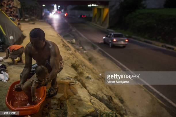 About 350 Warao Indians live in public squares and old mansions in central Manaus on May 15 2017 in Manaus The economic crisis and lack of food in...