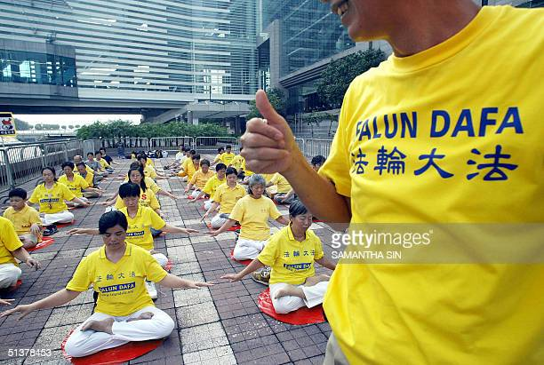 About 40 FaLun Gong members take part in a silent protest calling to bring the former leader of the Republic of China Jiang Zemin to justice...
