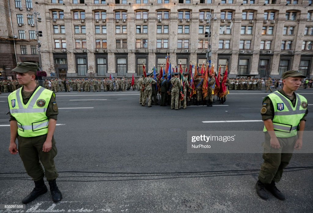 About 4,5 thousands servicemen of different military units take part in military parade rehearsal downtown Kyiv on August 18, 2017. Ukraine will mark the 26th anniversary of its Independence on August 24, 2017.