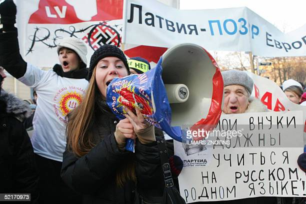 About 500 pupils and their parents protest against the language education reform in front of the parliament in Latvia 10 February 2005 Russian...