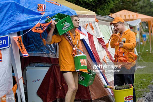 About 500 supporters of the Dutch national team have gathered at camping Alpenblick in Interlaken on June 06 2008 About 2000 fans are expected before...