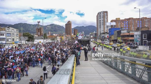 About 5000 students attend the march against the privatization of public universities in Bogota Colombia on October 04 2017