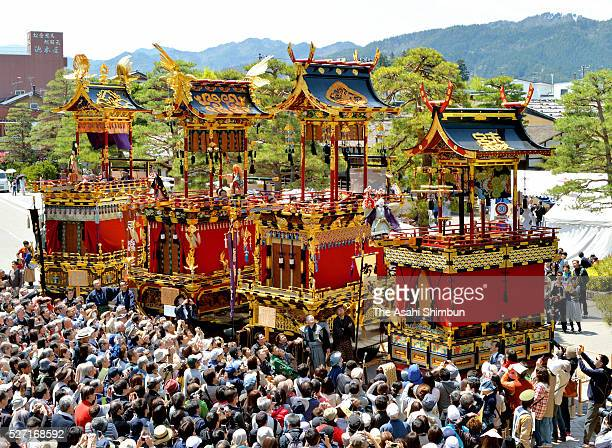 About 80000 spectators flock to view four floats featuring marionette performances brought together in a commemorative event on April 30 2016 in...