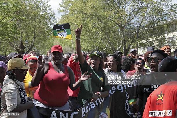 About a thousand protestors take part in a march organised by the South African Students Congress with Open Stellenbosch to protest against alleged...