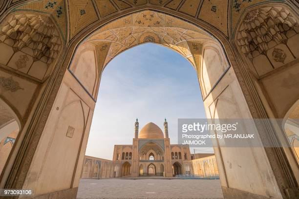 about agha bozorg mosque in kashan, iran - iranian culture stock photos and pictures