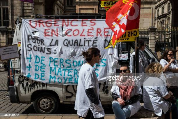 About fifty people doctors nurses and caregivers demonstrated on April 16 2018 on the Place de la Comedie in Lyon France Lying on the ground the...