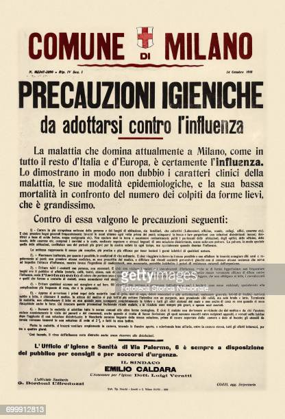 About the Spanish flu epidemic of 1918 manifesto posted by the City of Milan to deal with the serious outbreak which had attacked the population...