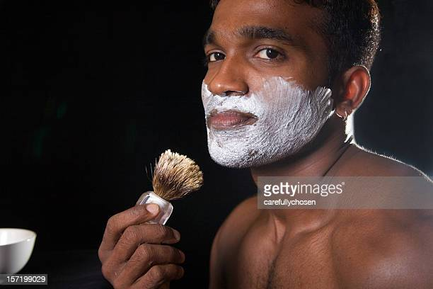 about to shave adult male hunk